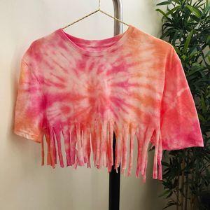 Custom tie dye fringe crop top Pink orange  XS/S